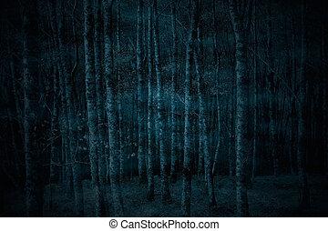 Espeluznante bosque de niebla por la noche