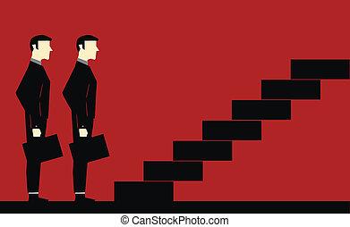 Esperando escalera de hombre de negocios