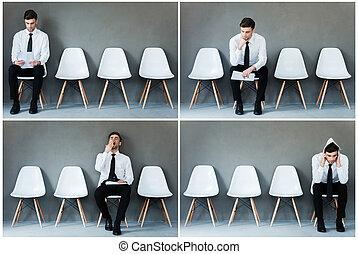 Esperando su entrevista. Collage de joven hombre de negocios con camisa y corbata expresando diferentes emociones mientras se sienta en la silla y espera una entrevista