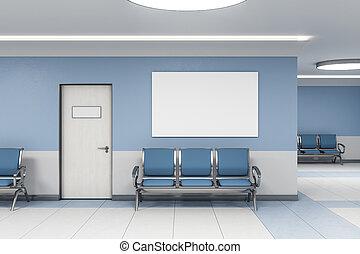 esperar, cartel, habitación, blanco, contemporáneo
