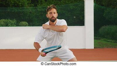 esperar, jugador del tenis, pelota