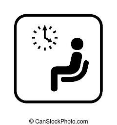 esperar, pictogram, habitación