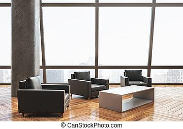 esperar, sillas, habitación, contemporáneo