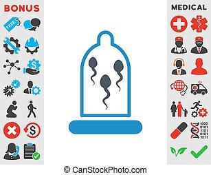 Esperma en icono de condón
