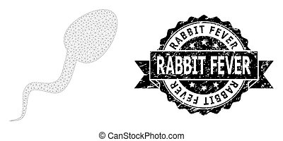 esperma, malla, wireframe, conejo, estampilla, cinta, célula, fiebre, caucho