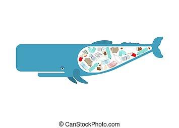esperma, rubbish., océano, concepto, cachalot, ballena, contaminación, ambiente, basura, ocean.