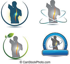 espina dorsal, símbolo, sano