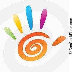 espiral, resumen, vector, coloreado, mano