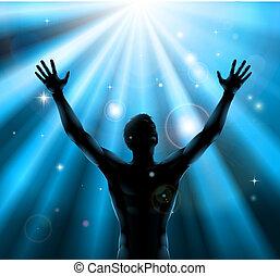 espiritual, concepto, levantado, arriba, brazos, hombre
