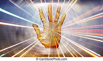 espiritual, curación, mano