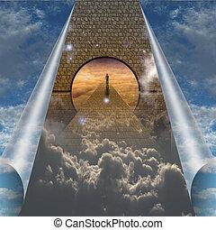 espiritual, escisiones, actuación, cielo, viaje, abierto, hombre