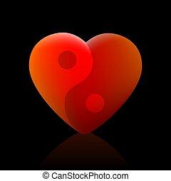 espiritualidad, balance, yang, amor, armonía, salud, yin, plano de fondo, corazón, negro, símbolo