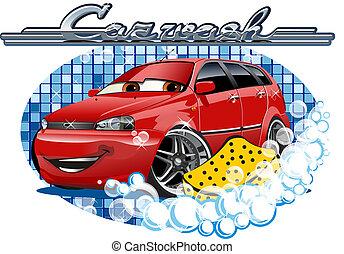 esponja, coche, lavado, señal