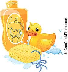 esponja, pato, juguete, producto para baño de espuma