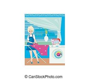 Esposa planchando ropa en casa