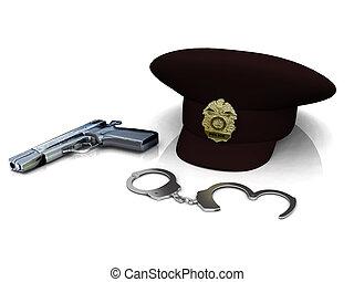 esposas, policía, sombrero, arma de fuego