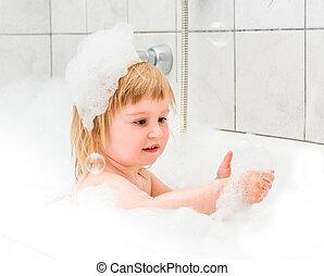 espuma, bebé, viejo, lindo, dos, baño, año, se baña