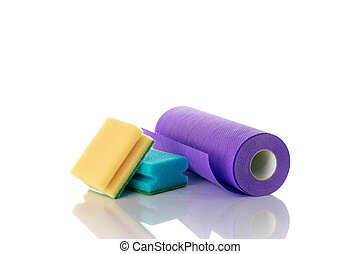 espuma, limpio, equipo, plato, fondo., limpiador, aislado, amarillo, casa, suministros, cocina, service., white., sponge., esponja