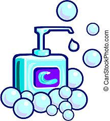 espuma, o, líquido, jabón