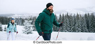 esquí, cruz, slovakia., aire libre, pareja, país, maduro, naturaleza, invierno, montañas, tatra
