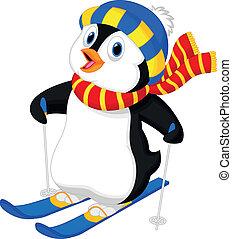 Esquí de dibujos de pingüinos