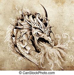 Esquela de arte tatuado, dragón de ira con fuego blanco