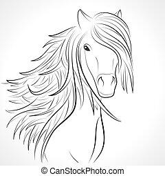Esquela de cabeza de caballo con melena blanca. Vector