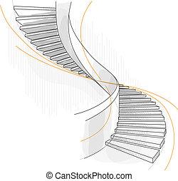 Esquela de una escalera en espiral.