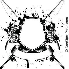 Esqueleto de peces y placas de pesca cruzadas