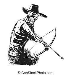 esqueleto de vaquero con ballesta