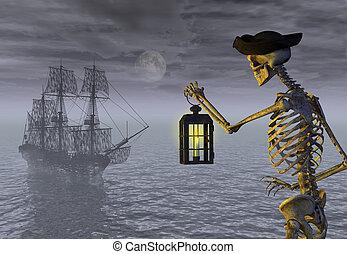 Esqueleto pirata con barco fantasma