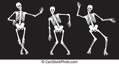 Esqueletos de baile blancos en negro.