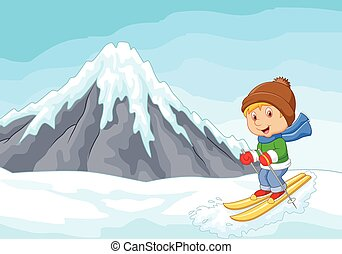 esquiador alpino, extremo, caricatura, carreras