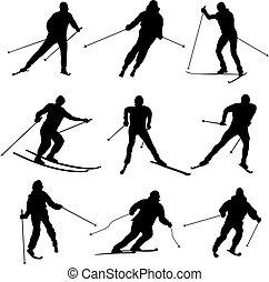 Esquiadores vectoriales.