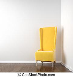esquina, blanco, silla, habitación, amarillo