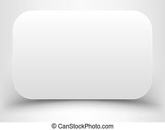 esquinas, blanco, redondeado, rectángulo, blanco