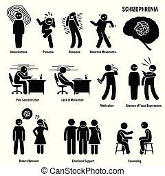 esquizofrenia, cerebro, crónico, desorden, icons.