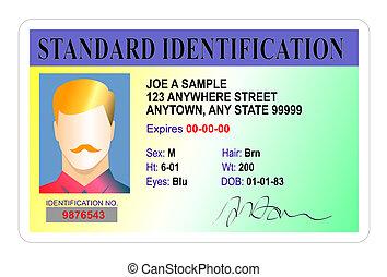 estándar, macho, tarjeta de identificación