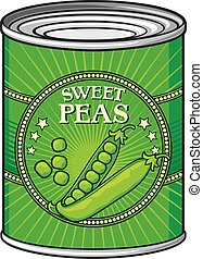 estaño, guisantes verdes
