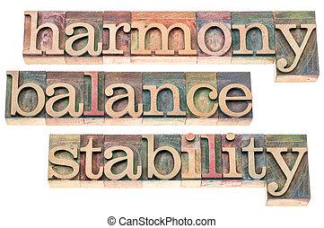 estabilidad, armonía, balance