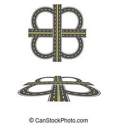 Establece el intercambio de transporte. Autopista con marcas amarillas. Vista superior y en perspectiva. Ilustración