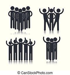 Establece la discusión de grupos de personas sociales