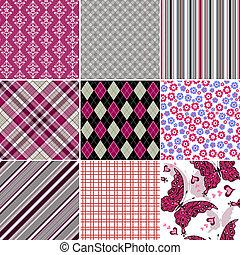 Establece un colorido patrón vintage