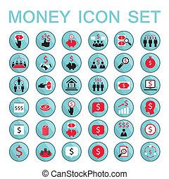 Establecer iconos éxito empresarial ahorrar dinero