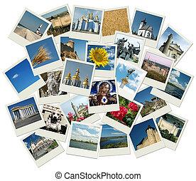 Estaca de fotos polaroid con marcas de tierra ucranianas