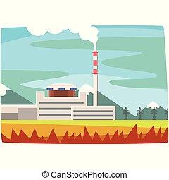 Estación de combustible fósil, generación de electricidad ilustración horizontal de vectores