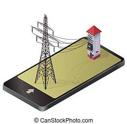 Estación de energía de alto voltaje con pilón eléctrico en la parafrase de tecnología de comunicación.