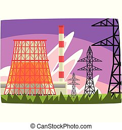 Estación de energía tradicional, generación de electricidad, ilustración horizontal de vectores