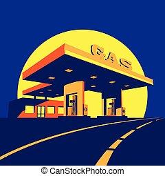 Estación de gasolina moderna por la noche