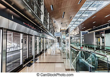 Estación de metro Interior en Dubai UAE